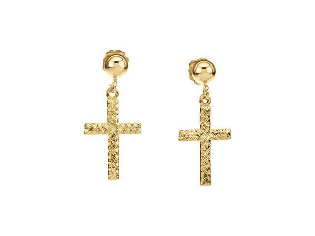 14K Yellow Gold Cross Ball Dangle Earring