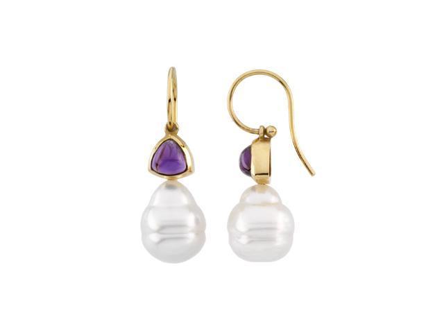 14K Yellow Gold South Sea Cultured Pearl & Genuine Amethyst Earrings