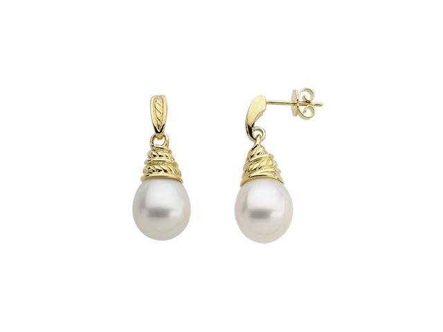 18K Yellow Gold South Sea Cultured Pearl Earrings