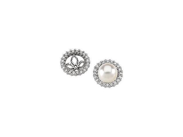 14K White Gold Pearl Earring Jacket