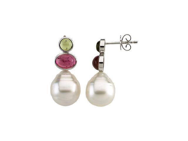 14K Yellow Gold South Sea   Pearl, Gen Peridot  Gen Pink Tourmaline Earrings