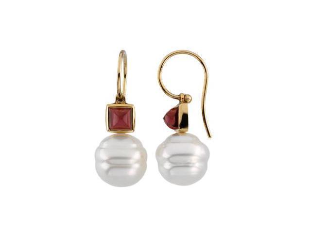 14K Yellow Gold South Sea Cultured Pearl & Genuine Garnet Rhodolite Earring