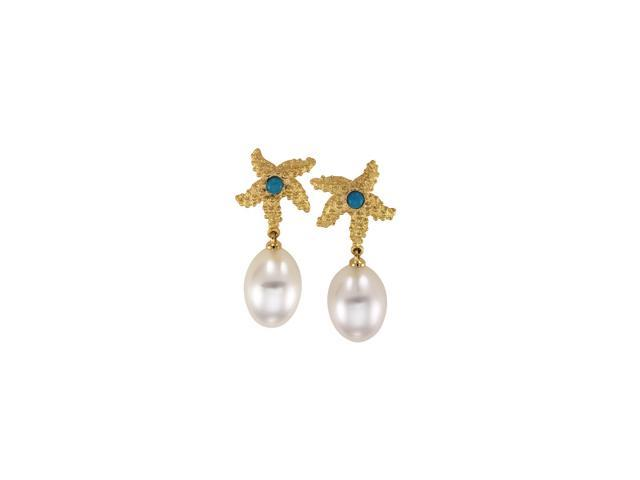 18K Yellow Gold South Sea Cultured Pearl & Genuine Turquoise Starfish Earrings