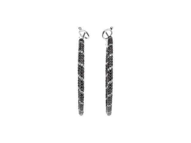 14Kw W/Black Rhodium Black And White Gold Diamond Earrings