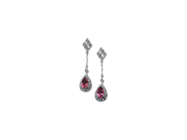 14K White Gold Genuine Pink Tourmaline And Diamond Earring