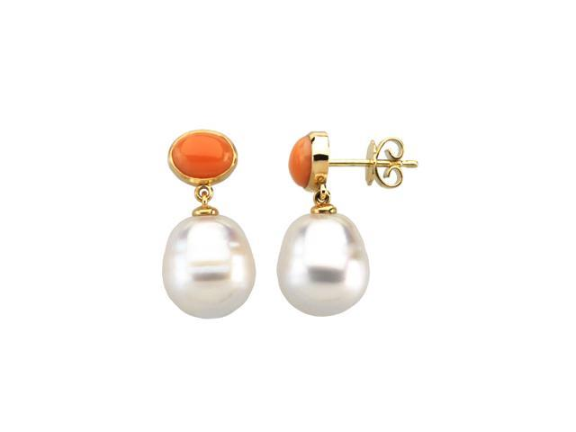 14K Yellow Gold South Sea Cultured Pearl & Genuine Coral Earring