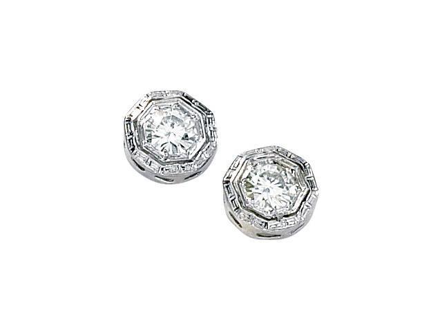 14K White Gold Created Moissanite Earring