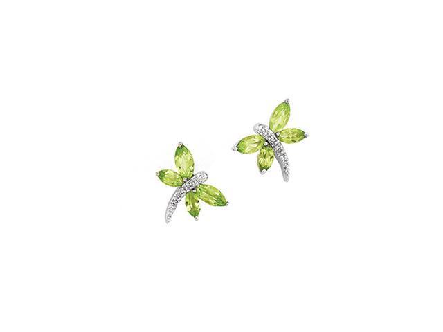 14K White Gold Peridot And Diamond Earring
