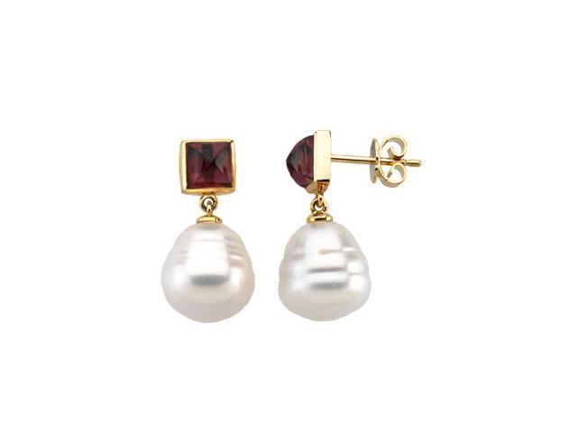 14K Yellow Gold South Sea Cultured Pearl & Genuine Rhodolite Garnet Earring