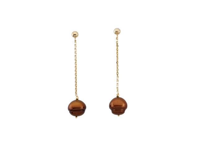 14K Yellow Gold Freshwater Dyed Chocolate Cultured Circle Pearl Earrings
