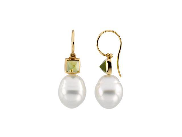 14K Yellow Gold South Sea Cultured Pearl & Genuine Peridot Earring