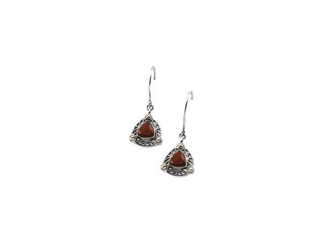 Sterling Silver & 14K Yellow Gold Genuine Cab Mozambique Garnet Earring