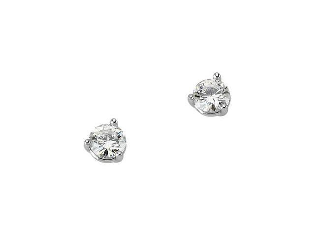 14K White Gold Created Moissanite Three Prong Round Earring