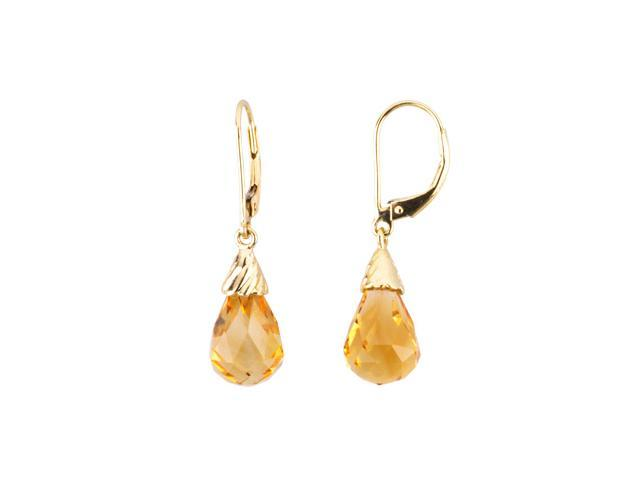 14K Yellow Gold Genuine Citrine Briolette Earrings