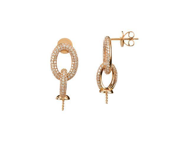 14K Rose Diamond Semi Mount Earrings