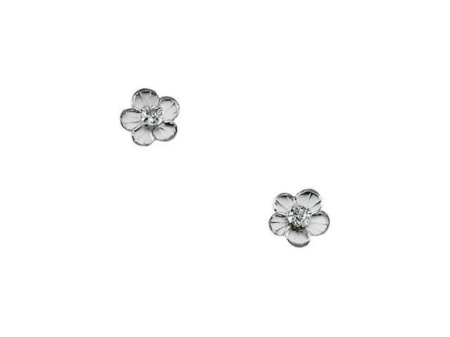 14K Yellow Gold Childrens Daisy With Cz Earring