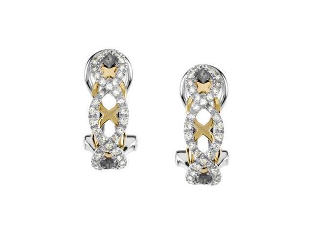 14K White Gold /Yellow Gold Diamond Earrings