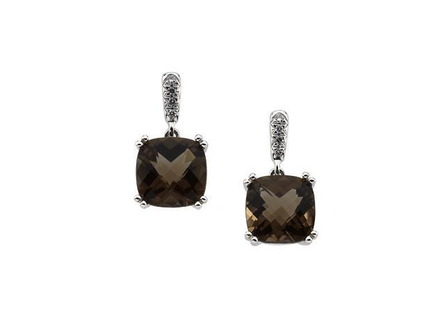 14K White Gold Genuine Smoky Quartz And Diamond Earring