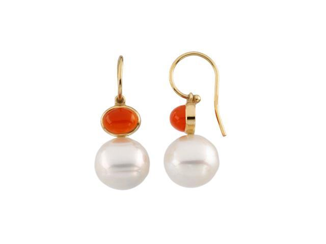 14K Yellow Gold South Sea Cultured Pearl & Genuine Carnelian Earring