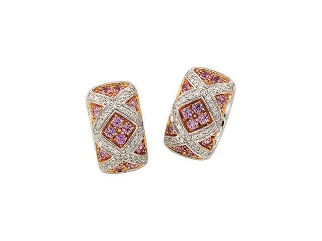 14K White Gold Rose Gold Plated Genuine Pink Sapphire And Diamond Earring