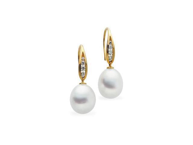 18K Yellow Gold South Sea Cultured Pearl W/Diamond Earring