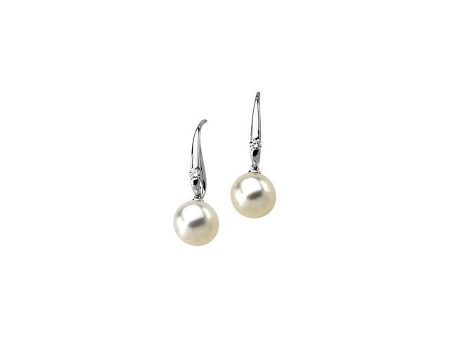 14K White Gold South Sea Cultured Pearl & Diamond Earrings