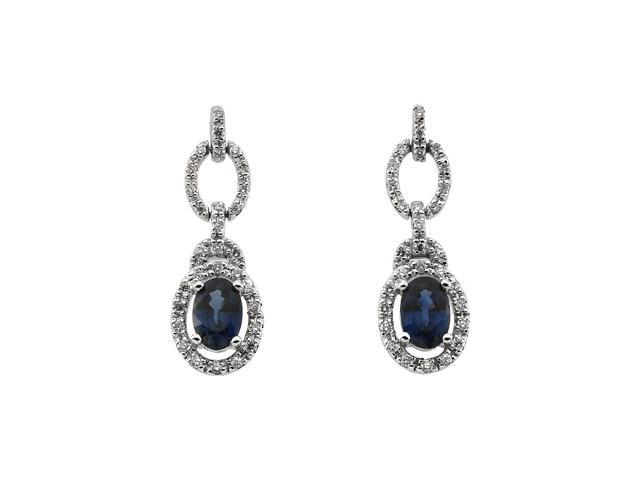 14K White Gold Genuine Sapphire And Diamond Earring