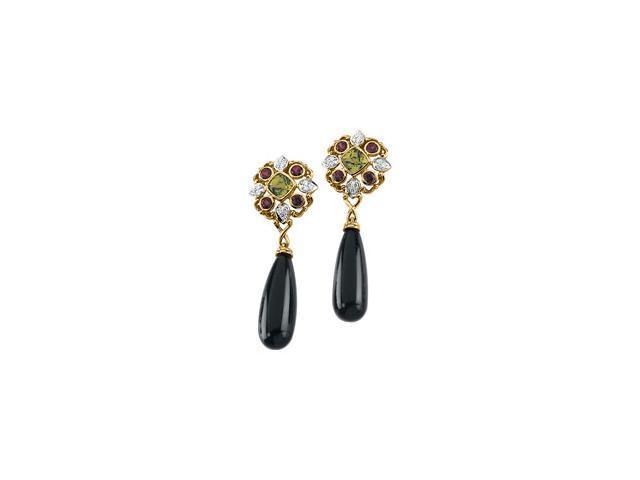 14K Yellow Gold Genuine Brazilian Garnet, Peridot,Diamond Earring Semi Mount