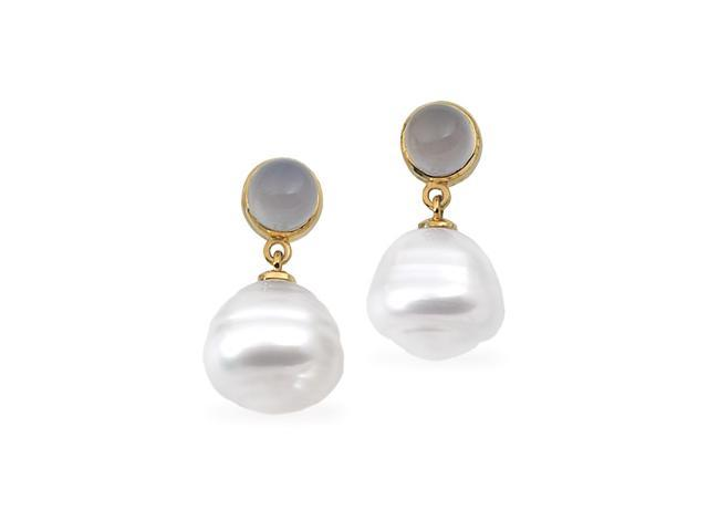 14K Yellow Gold South Sea Cultured Pearl & Genuine Chalcedony Earring