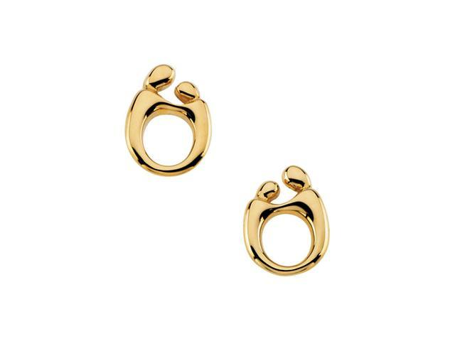 14K Yellow Gold Mother & Child Post Earring With Back