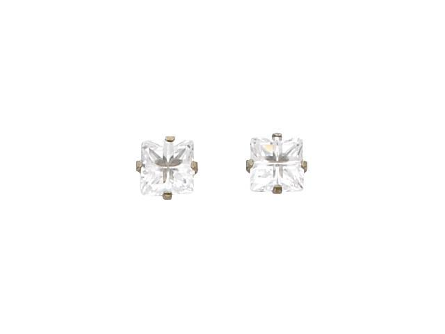 Nickel Plated Inverness Palladium Plated Square Faceted Cubic Zirconia Earring