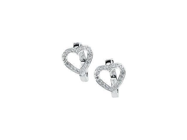Sterling Silver Cubic Zirconia Heart Earring