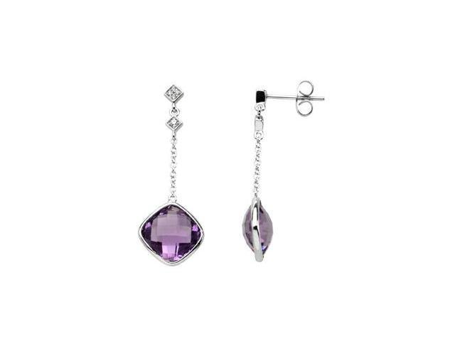 14K White Gold Genuine Checkerboard Amethyst And Diamond Earring