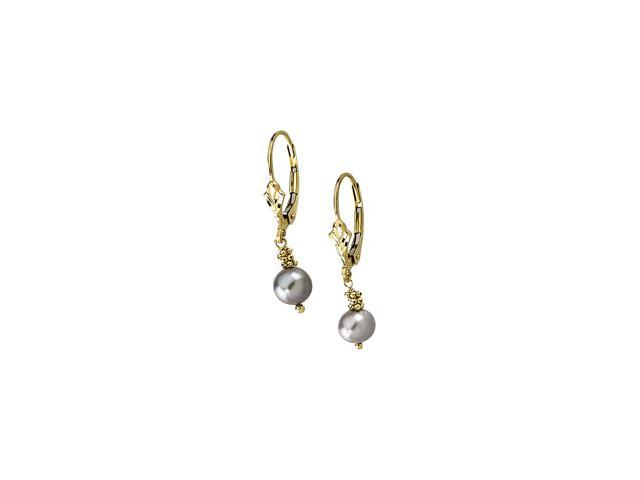 14K Yellow Gold Lever Back Earring With Grey Pearl