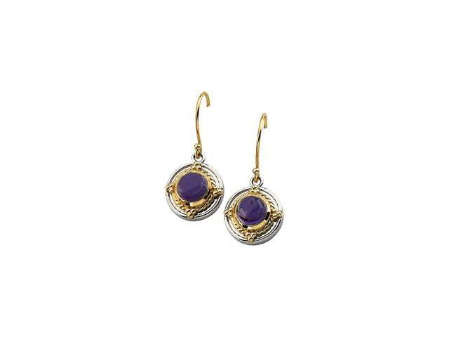 14K Yellow Gold & Sterling Silver Cab Genuine Amethyst Earring