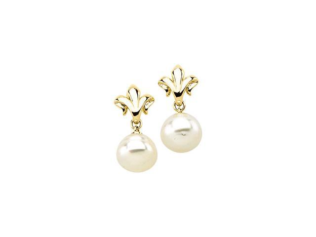 14K Yellow Gold South Sea Cultured Pearl Earring - OEM