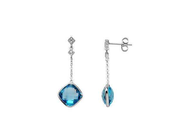 14K White Gold Genuine Checkerboard Swiss Blue Topaz And Diamond Earring