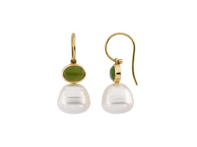 14K Yellow Gold South Sea Cultured Pearl & Genuine Jade Earring - OEM