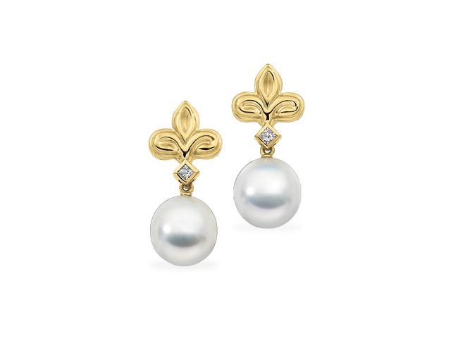 18K Yellow Gold South Sea Cultured Pearl And Diamond Earring