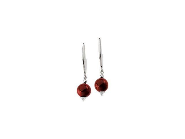 Sterling Silver Genuine Dyed Red Coral Earring