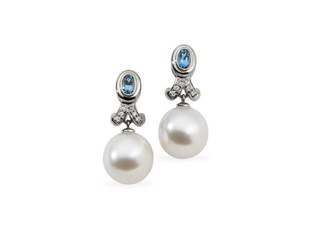 18K Palladium White Gold South Sea Cultured Pearl & Genuine Aqua Diamond Earring