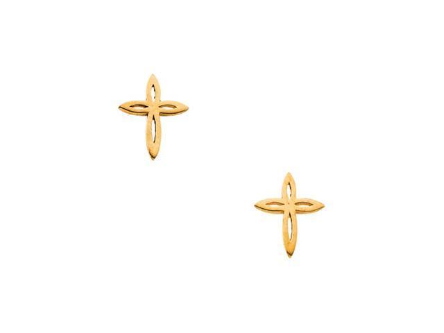 14K Yellow Gold Childrens Cross Earring