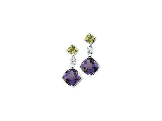 14K White Gold Genuine Amethyst,Genuine Peridot And Diamond Earring