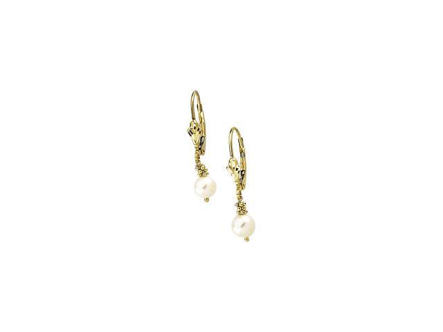 14K Yellow Gold Lever Back Earring With White Gold Pearl