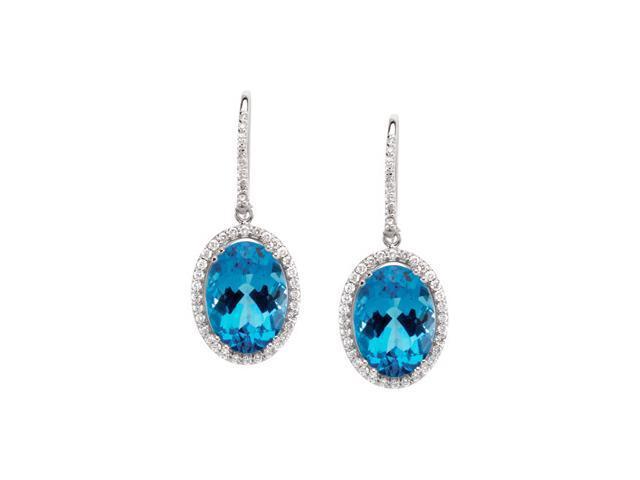 14K White Gold Genuine Swiss Blue Topaz And Diamond Earrings
