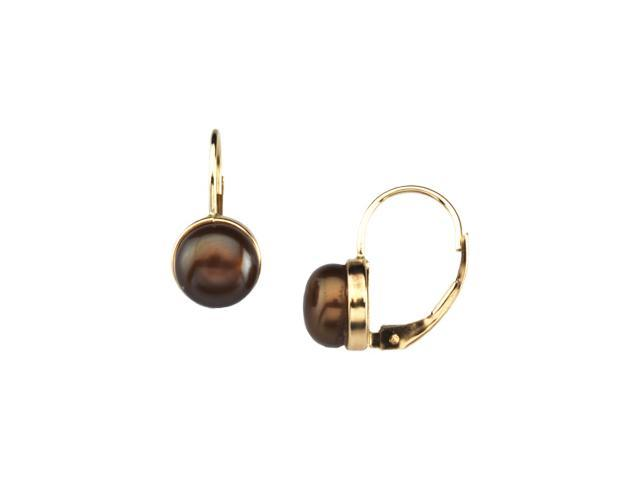 14K White Gold Freshwater Cultured Dyed Chocolate Pearl Lever Back Earrings