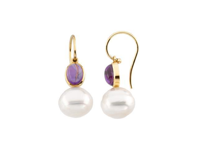 14K Yellow Gold South Sea Cultured Pearl & Genuine Amethyst Earring