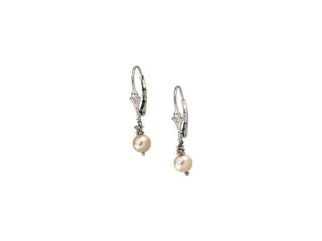 14K White Gold Lever Back Earring With Pink Pearl