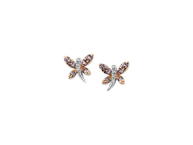 14Kw/Rose Rhodium Plated Genuine Pink Sapphire And Diamond Earring