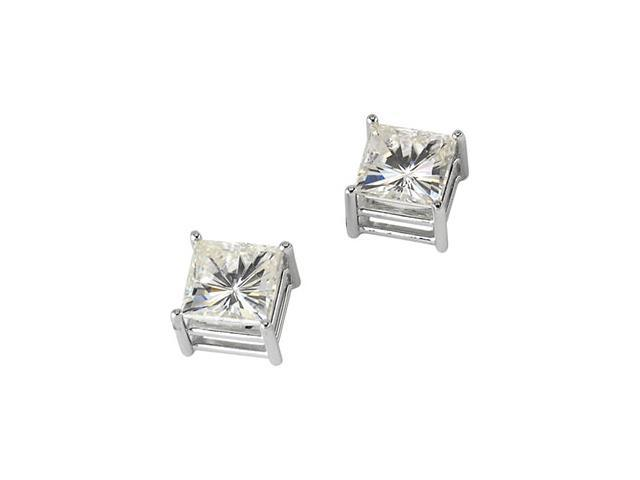 14K Yellow Gold Created Moissanite Light Wire Basket Princess Earring